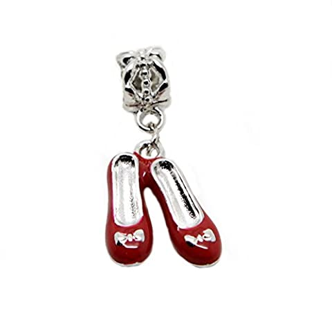 Red ballet shoes red enamel ballerinas with bow Gift Dangle Bead for Silver European Charm Bracelets Clip on Charm chain link bracelet meaning charms (red