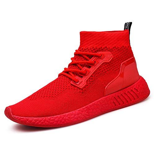 Mumuj 2018 Fashion Herren Rot Hoch Hilfe Soft Weich Sohle Sneaker Schuhe Jungen Lauf Gym Socken Schuhe Fitness Outdoor-Sport Rutschfeste Turnschuhe