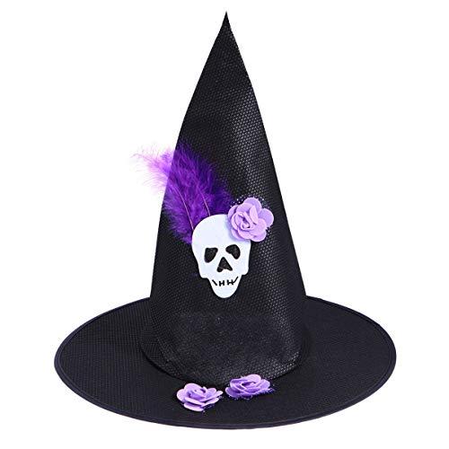 Happyyami Halloween Hexenhut Schädel Feder Hexenkappe Partei Cosplay Kostüm Requisiten für Kinder Erwachsene