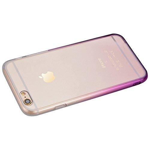 iPhone 6 / iPhone 6s Hülle, Yokata Durchsichtig Gradient Weich Jelly Weich Silikon Gel Case Ultra Slim Cover Schutzhülle Sehr Dünn Handyhülle + 1 x Kapazitive Feder Lila