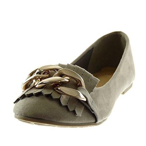 ... Angkorly Chaussures Mode Ballerine Slip-on Femme Fringe Chaîne Doro  Block Talon 1 Cm Gris ... e934074ee8e