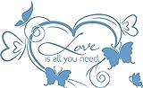 GRAZDesign 690046_57_056 Wandtattoo Love is all you need Herz | Hochzeitsgeschenk als Wand-Deko | Geschenk für Hochzeit von Trauzeugen | Für Schlafzimmer und Party-Räume (93x57cm//056 lichtblau)