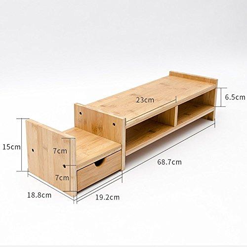 Monitor Laptop Stand Riser mit 1 Schublade Naturholz Regal Schreibtisch Veranstalter für Handy Halter TV Drucker Stand Desktop -