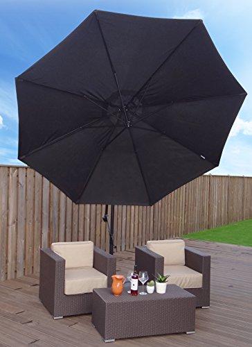Sonnenschirm Ampelschirm | Schwärz | Ø 300 cm | Rund | SORARA | Polyester 180 g/m² (UV 50+)| Kurbel Mechansimus | Incl. Kreuzfuß for Parasol