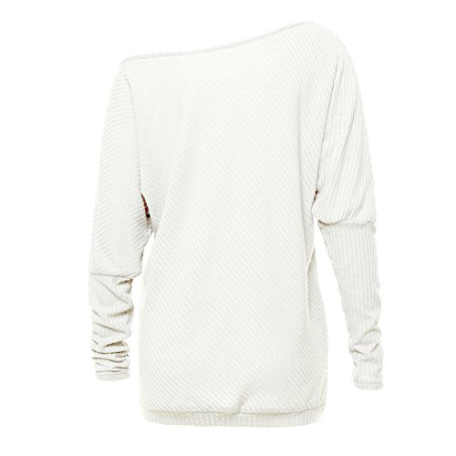 Women's Batwing Long Sleeve Loose Knitwear Jumper Pullover Casual Tops Blouse T-Shirt white