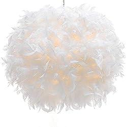 Zhuhaitf minimalistisch pendelleuchte Weiß Feather Ball E27 Led hänge leuchte für wohnzimmer and schlafzimmer Lamp Decor Droplight (keine Glühbirne)