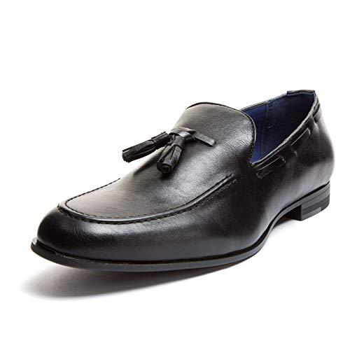 Mforshop scarpe uomo francesine parigine mocassino tessuto pois nappine elegante moda y41 - nero-y56, 44