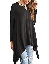 Reaso Mode Femme Tunique Taille Plus Manches longues Blouse Col Rond Casual Chemise Longshirt Hauts Lâche Blouse Irréguliers Tops
