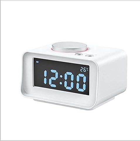 Wake-up Timer Digital Projection Wecker mit Soft LED Nachtlicht, Snooze, Akku Backup, Auto Time Set, Sleep Timer, Indoor Zeit / Temperatur / Tag / Datum Display Digital Bedside Clock (Schwarz) ( Color : White )