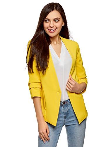 Chaqueta amarilla entallada de manga 3/4 para mujer