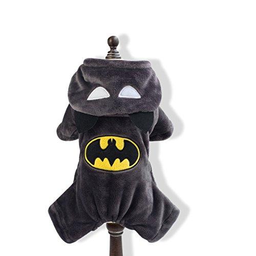 PETCUTE Halloween Hund Winter Warm Kleidung Haustier Batman Kostüm Anzug mit Cap Weihnachten Weichen Katze Hoodie (Für Hai Hunde Kostüme)