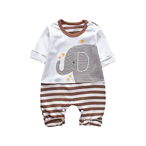 Xmiral Kinder Baby Unisex Strampler Overall Langarm Gestreifter Elefant Bedruckte Outfits Set Infant Baby Newnorn Overall(Braun,9-12 Monate)