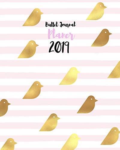 Bullet Journal Planer 2019: Typo-Art Kalender mit Dot-Grid Layout, 1 Woche auf 2 Seiten, modische rosa Streifen mit trendy Pattern Design (Gestalte Deinen Kalender so wie Du es willst, Band 2019) -