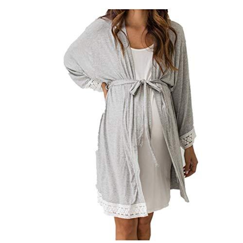 Amphia - Schwangere Frauen-Pyjamas - Damen Spitzenseitenkleid + Gürtel - Frauen Umstandskleid Still-Nachthemd Stillen Nachthemd Lace Sleepwear
