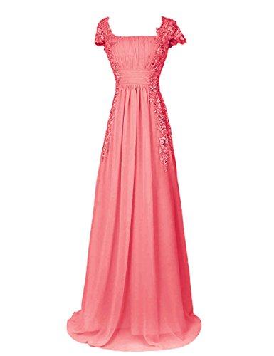 Dressystar Robe femme, Robe de soirée longue,à col carré,fleur,en Mousseline,dentelle Corail