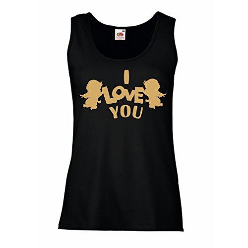 Femme Débardeur Sans manche Cupidon ange dit: Je t'aime guillemets Noir Or