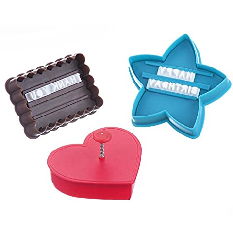 VonShef Cookie / Cake Icing Plunge Cutters with Personalised Letterpress Stamp Embosser