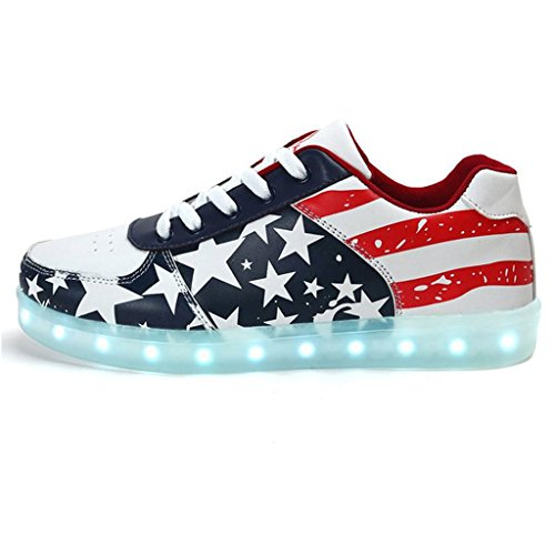 Topteck donne degli uomini unisex di ricarica USB LED Light Up Shoes Glow luminoso American Star Flag pattini casuali lampeggiante corsa scarpe da tennis, Rosso