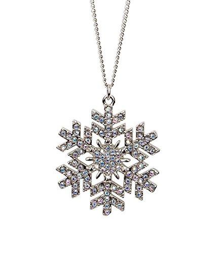 """SIX """"Xmas Damen Halskette mit Eiskristall Anhänger/Schneeflocke mit Strasssteinen in Silber, Weihnachts Schmuck, Winter Design (741-506)"""