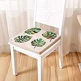 OLEEKA Plante Coussins De Plancher Vert Feuille Coussin De Siège en Lin Chaise Coussin Carré Tatami Tapis Doux Confortable Chaise Pad Home Decor