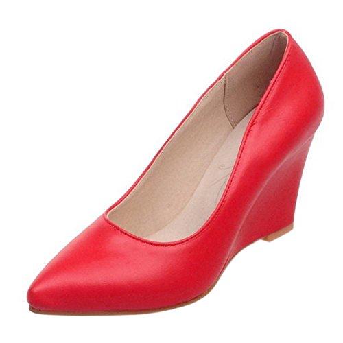 RAZAMAZA Femmes Bureau Compenseess Escarpins red