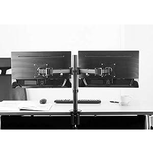 RICOO Monitor Tischhalterung für 2 Monitore Monitorhalterung TS5811 Monitorständer Schwenkbar Neigbar Bildschirmständer Tisch Ständer | 33-69cm / 13