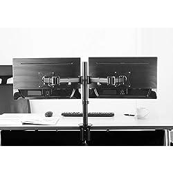 RICOO Support PC pour 2 ecrans TS5811 Double Bras orientable inclinable TV sur Pied Meuble de Bureau écran Ordinateur télé 4K OLED Plat Moniteur Informatique articulé VESA 75x75 100x100 / Noir