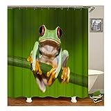 Bishilin 3D Anti Schimmel Duschvorhang 90X180 Frosch Duschvorhang Waschbar aus Polyester-Stoff