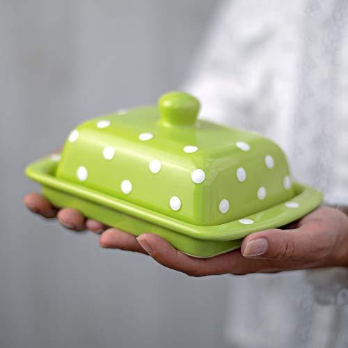 City to Cottage Beurrier vert pomme à pois blancs en céramique fait et peint à la main