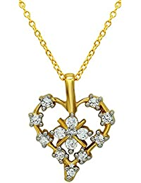 Mahi Valentine's Day Gift Eternal Love Heart Gold Plated Pendant With CZ For Women PS1101598G