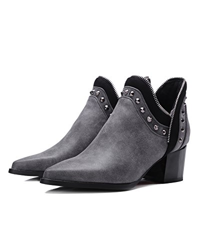 Minetom Donna Autunno Inverno Chelsea Boots Tacco a Blocco Stivali Stivaletti Rivetto Cerniera Stivaletti Corti Grigio con Peluche