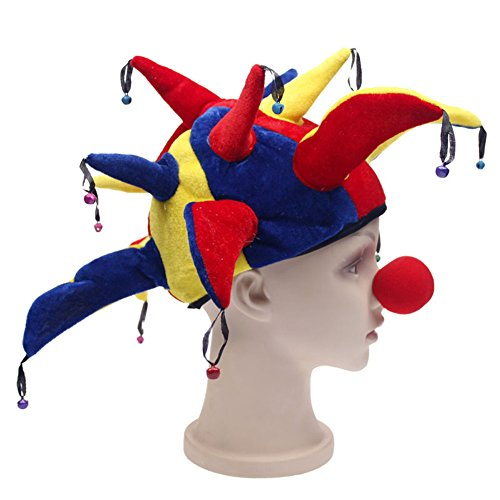 Funny Halloween-Kostüm Party Supplies Props Jester Clown Hat mit Nase