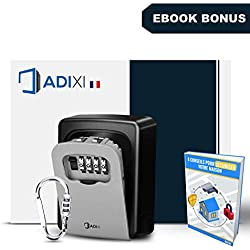 [ Boite à Clefs Murale avec Code + Vis De Sécurité + Mousqueton Offert ] ADIXI - Satisfait/Remboursé - Haute Qualité - Large - Installation Facile - Bonus:EBOOK PDF - Boitier Sécurisé Extérieur Clef