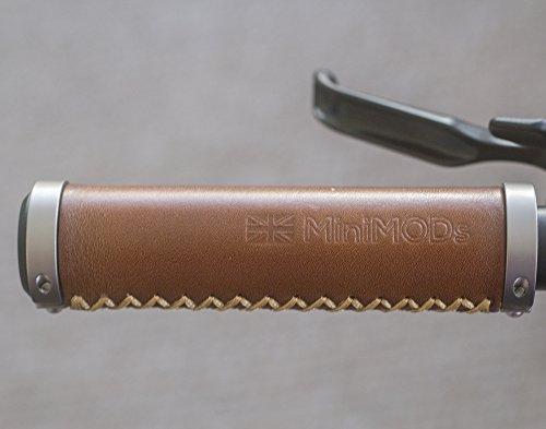 MiniMod's Empuñaduras de piel italiana para BROMPTON (tipo H/S), color marrón