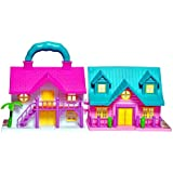 FIZZYTECH Mini Foldable Twin-Sided Doll House with Toy Accessories