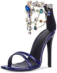 SZXC Chaussures à Talons Hauts Bien Avec Sandales Cuir VéRitable Chaussures Femme Bleu Bijoux Banquet Partie