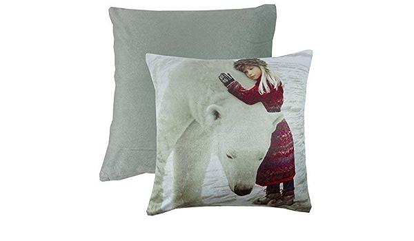 """POLAR BEAR GIRL ARCTIC SNOW SOFT VELVET WHITE CUSHION COVER 17/"""" 43CM"""