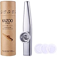 WANDIC Aluminum Alloy Kazoo and 3 Membrane Flute Diaphragm Mouth Kazoos with Vintage Gift Box, Silver