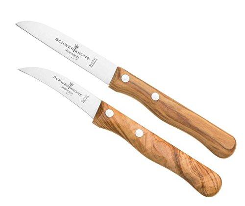 Schwertkrone Schälmesser/Messer Set Solingen Germany/Obstmesser/Gemüsemesser/Schälmesser Holzgriff Olivenholz 15,5 cm gebogen/17,5 cm rostfrei Vogelschnabel/Gerade