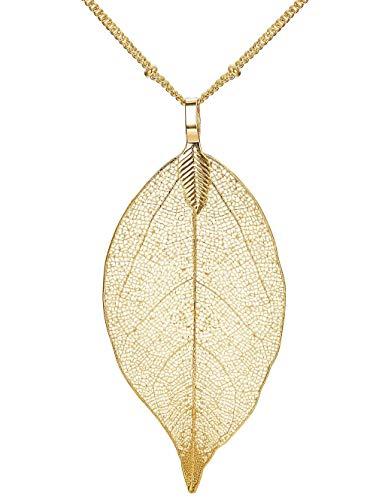 Finrezio Halskette mit Filigranem Baum-Blatt Anhänger Kette Natürlichen Halskette Lange Böhmischen für Damen Mädchen Goldfarben -