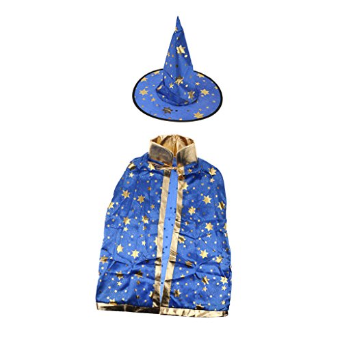 Zauberer-Kostüm für Halloween, Umhang mit Sternen, Hexenhut für Kinder - Blau, one (Zauberer Kostüm Kinder)