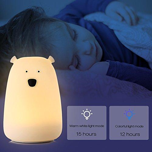 ilifesmart Nachtlicht Night Light Kinder USB wiederaufladbar LED Lampe Nacht-/Nachttisch bunt Lichter 3Modus Kämpfen Kontrolle für Kinder