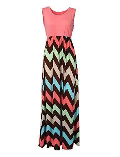 Très Chic Mailanda Sommerkleid Damen Partykleid Lang Chiffon High Waist Striped Sleeveless Beach Kleid - Lang Den Sommer Kleid Für