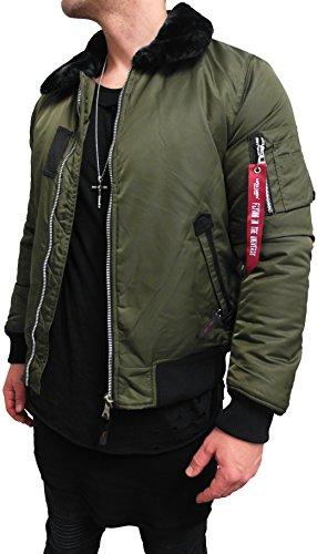 BOMBERJACKE MIT FELLKRAGEN Bomber Jacke Herren black biker motorrad Designer Blouson Sweat men leather flieger wende piloten jacket...