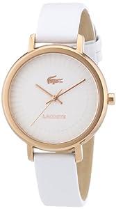 Lacoste 2000715 - Reloj analógico de cuarzo para mujer con correa de piel, color blanco de Lacoste