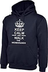 Keep Calm And Walk The Weimaraner Dog In Navy Blue Hoody & White Text
