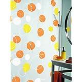 Spirella Bubble - Cortina de ducha de plástico (180 x 200 cm), color naranja/amarillo/blanco