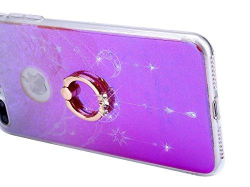 Coque iPhone 7 Plus,Étui iPhone 7 Plus,iPhone 7 Plus Case,ikasus® Coque iPhone 7 Plus Silicone Étui Housse Téléphone Couverture TPU avec [Diamant Ring Stand Support] Dégradé de couleur brillant Bling  Étoile de lune