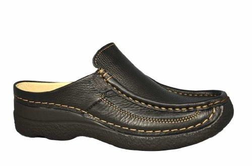 Wolky Gute Stabilität Komfort Sandalen 06202Rolle Slide, Schwarz - 70000 Black Printed Leather - Größe: 43 (Folien Clogs Schwarze)