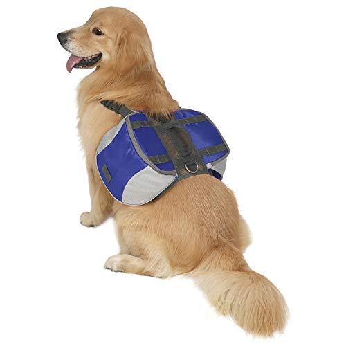 HDE Rucksack für Hunde, Camping, Wandern, Reisen, verstellbar, leicht, Satteltasche für kleine bis große Hunde, Medium, blau